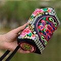 2016 новый национальный вышивка мешок Цветочные вышитые Плеча сумку Маленький Телефон Кошелек Сцепления Мешок Монет