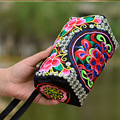 2016 new national embroidery bag Floral embroidered Shoulder Messenger bag Small Phone Wallet Clutch Coin Bag