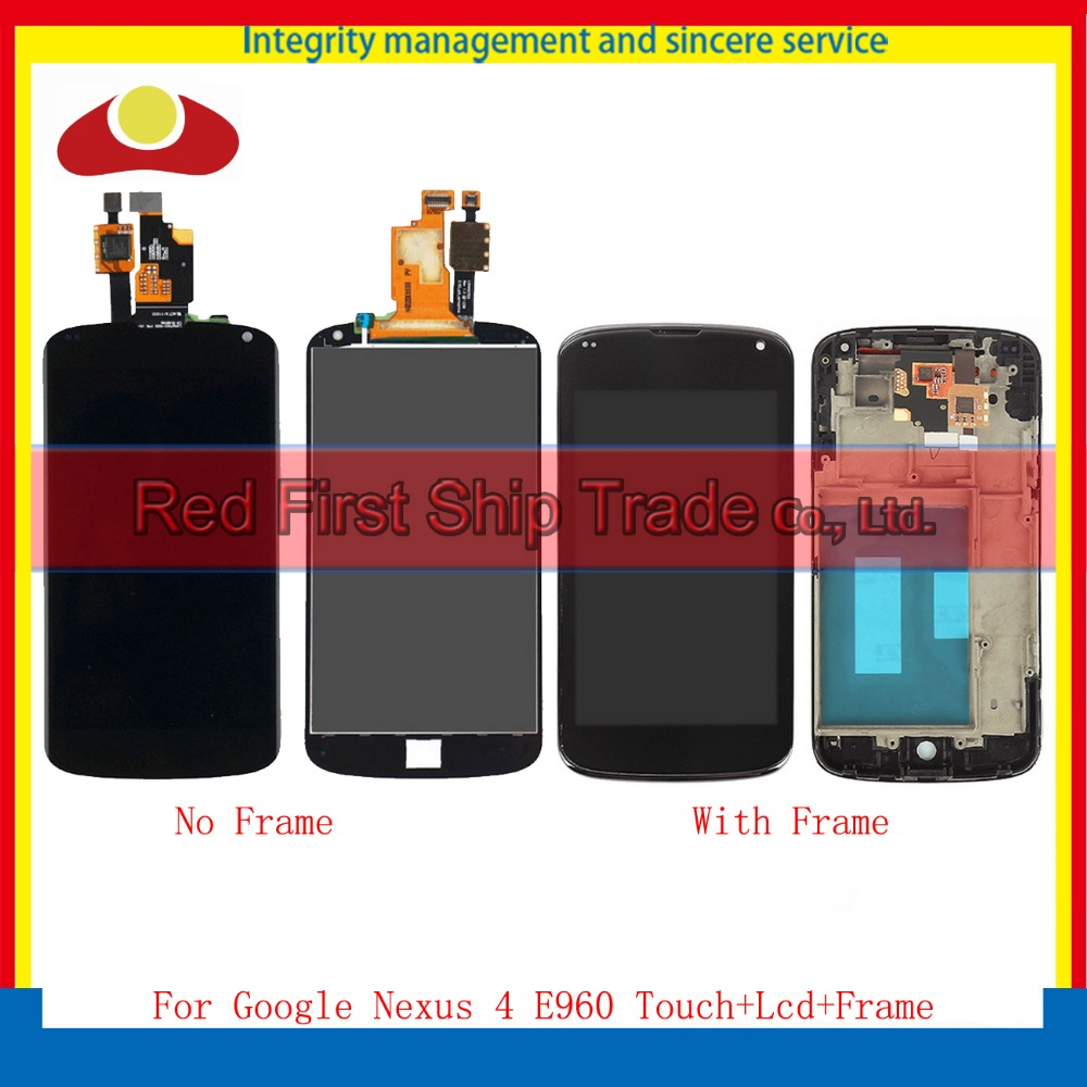 High Quality 4.7 For LG Google Nexus 4 E960 Lcd Display Touch Screen Digitizer Assembly Complete With Frame Black Tracking Code 5pcs lot 100% original new display screen lcd assembly with frame for lg nexus 5 d820 d821 lcd black
