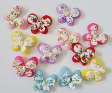 PA0030 2 layers padded butterfly appliques mix 120pcs 6 colors available Flower felt patches garment accessories