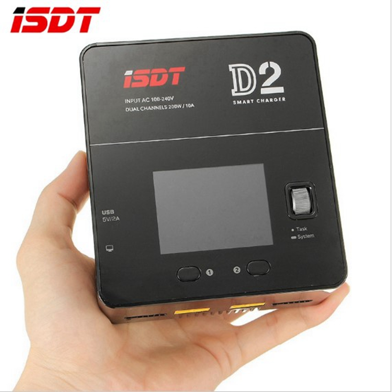 In Stock ISDT D2 200W 20A AC Dual Channel Output Smart Lipo Battery Balance Balancing Charger For RC Drone Quadcopter Charging skyrc d100 2 100w ac dc dual balance charger 10a charge 5a discharge nimh lipo battery charger twin channel charge
