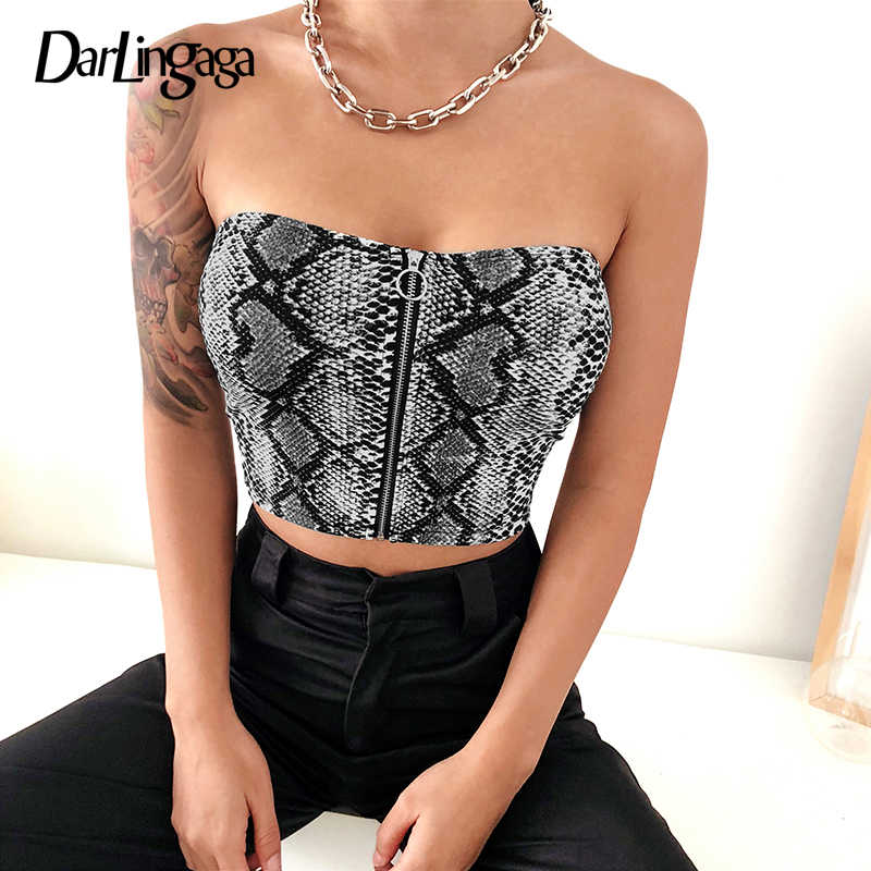 84de02aea74 Darlingaga Hot sale snake print tube top female zipper strapless bandeau  snakeskin casual sexy crop tops