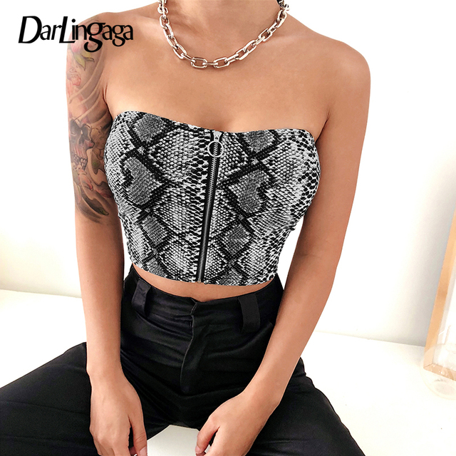 998f174c6aa542 Darlingaga Hot sale snake print tube top female zipper strapless bandeau  snakeskin casual sexy crop tops