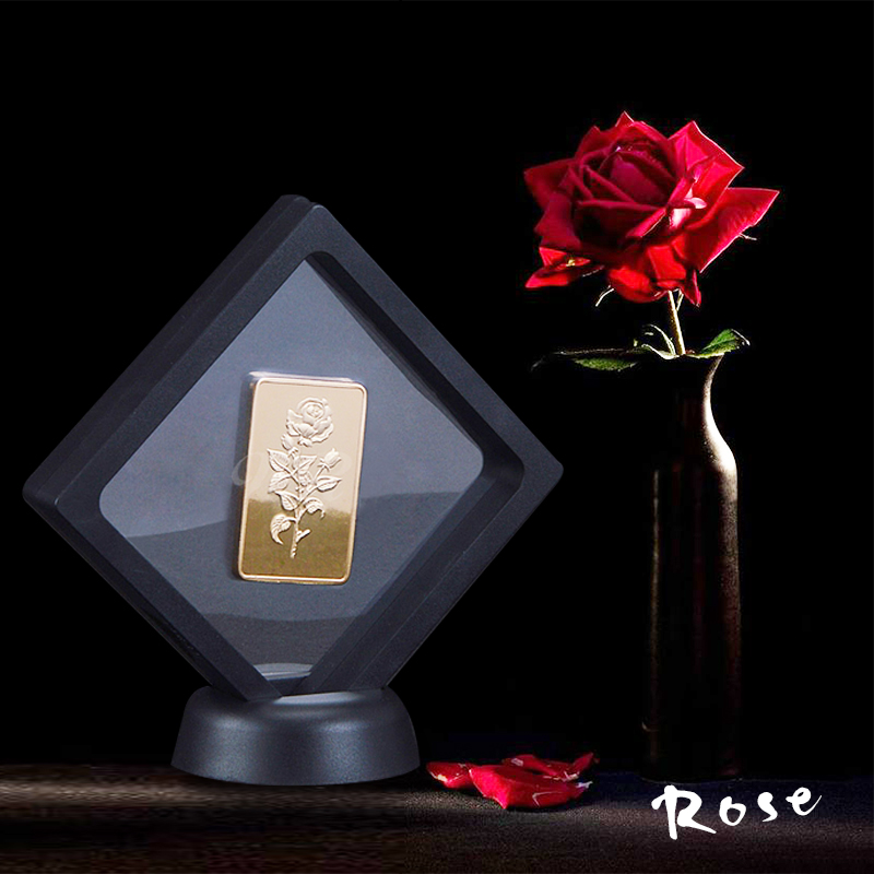 24K Gold Bar met Plastic Display Frame Rose Amerika Copy Munt USA Vergulde Souvenir Buillion Collect Relatiegeschenk