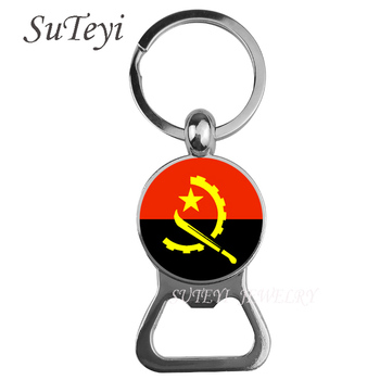 Silver Color Beer bottle opener Key Chain Angola / Benin / Botswana flags Cabochon Pendant jewelry Key Ring for Women lover gift image
