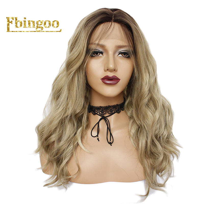 Ebingoo Dark Roots Ombre Blonde High Temperature Fiber Short Natural Body Wave Bob Wigs Synthetic Lace Front Wig For Women
