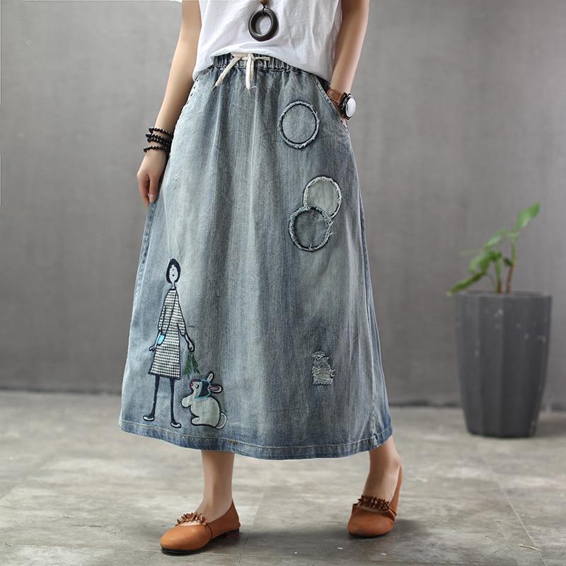 Ethnic Style Retro Print Little Girl Rabbit Denim Skirt Female  Patch Elastic Waist  Skirt