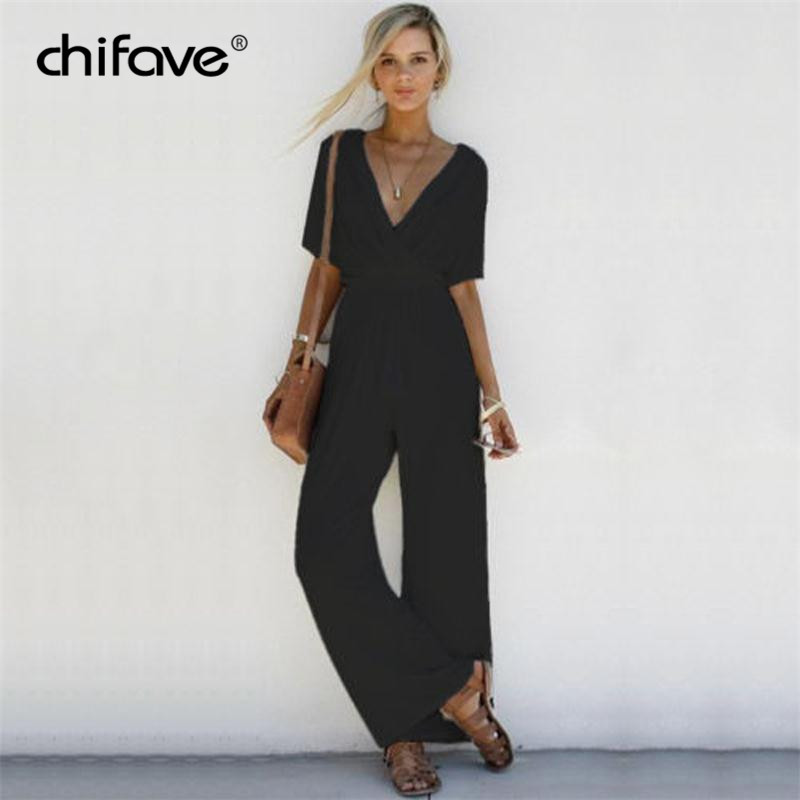 Casual Women   Jumpsuit   Sexy V Neck Romper Short Sleeve Long   Jumpsuit   Wide Leg Pants Vintage Solid Party Overalls Rommers chifave