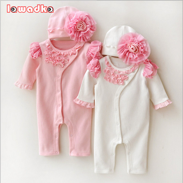 Newborn Princess Style Newborn Baby Girl Clothes Kids Birthday Dress Girls Lace Rompers+Hats Baby Clothing Sets Infant Jumpsuit