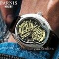 40 мм Мужские часы люксовый бренд PARNIS MIYOTA ремешок из натуральной кожи легкие Роскошные автоматические наручные часы