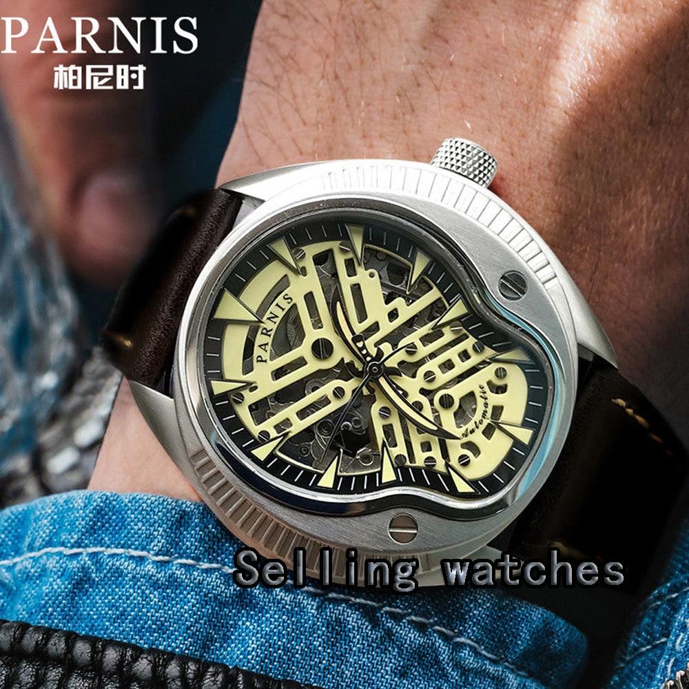 40mm 남자 시계 럭셔리 브랜드 parnis miyota 정품 가죽 스트랩 라이트 럭셔리 자동 손목 시계-에서기계식 시계부터 시계 의  그룹 1