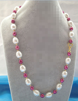 CBN361 Beautiful 25 10mm Purple Red Freshwater Pearl 16mm Sea Shell Pearl Necklace
