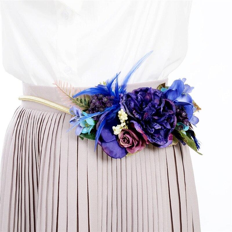 Imixlot New Trendy Alloy Flower   Belt   for Female Lady Dress Metal Chain   Belt   Waistband Vintage Apparel Accessories