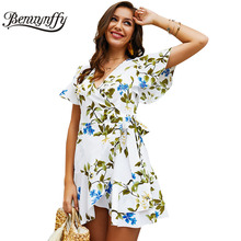 Benuynffy Women Summer Dress 2019 Boho Floral Print Tie Waist Beach Dress Tunic Casual V Neck Butterfly Sleeve Wrap Mini Dress contrast trim floral print tie waist dress