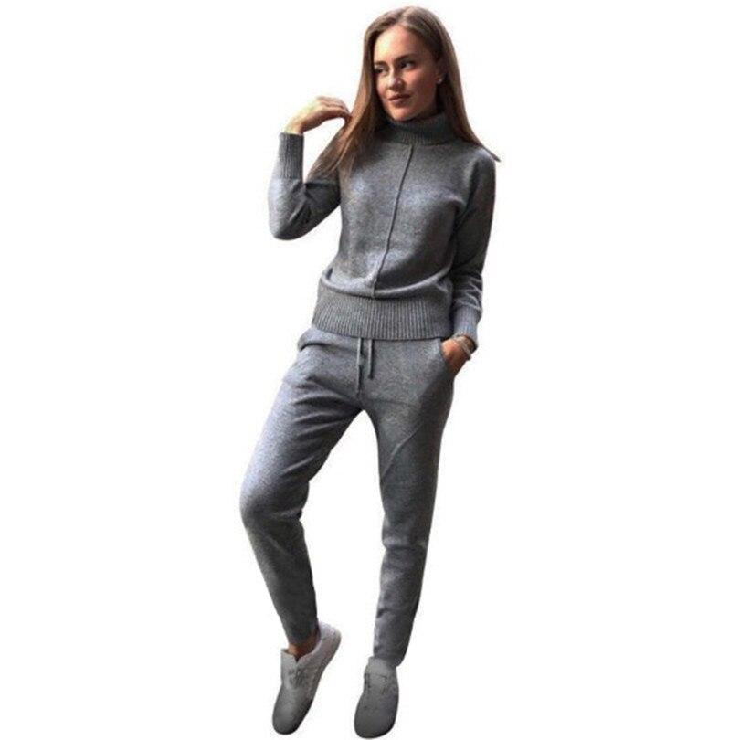 Tapakva winter Woolen und Kaschmir Gestrickte warme Anzug hohe Kragen Pullover + Nerz Kaschmir Hosen lose stil zwei-stück set stricken