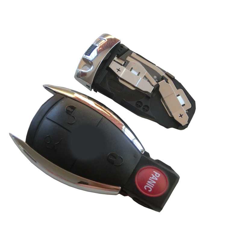 Car Key Case Shell Keyless Remote Fob Uncut Blade fit For Mercedes for Benz E C R CL GL SLK + Battery Clamp Holder 4BTN