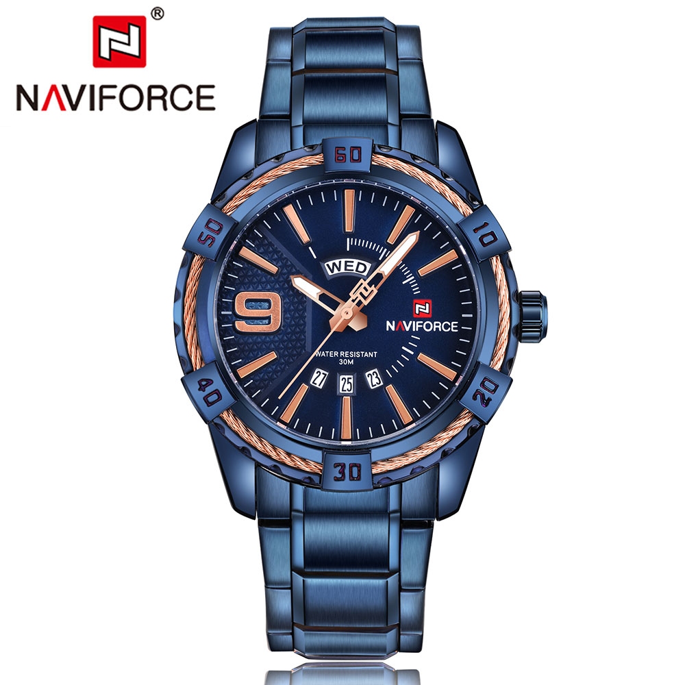 NAVIFORCE Top Brand Luxury Men Watches Blue Waterproof Date Week Quartz Watch Man Full Steel Sport Wrist Watch Men Clock Male 2017 luxury brand binger date genuine steel strap waterproof casual quartz watches men sports wrist watch male luminous clock
