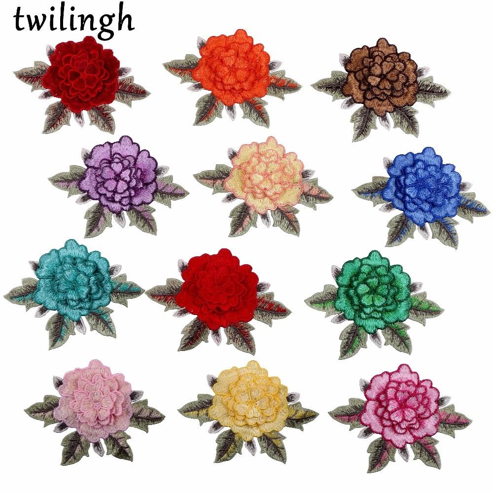 Twilingh Rose roja flor bordada flores de encaje de color mixto coser - Artes, artesanía y costura