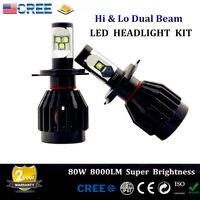 Free Shipping 2Pcs 80W 8000LM CREE Chips LED H4 9003 HB2 Hi & Lo Beam Headlight Fog Bulbs Driving Conversion Kit 6000k White