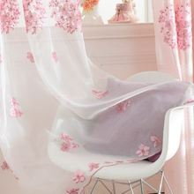 Embroidery Flower Sheer Tulle Prink Sweet Curtains For Living Room Window Screening Eyelets Voile Curtain Cortinas Rideaux