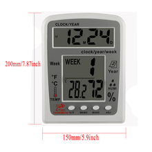 Buy online Digital  Weather Station LCD Indoor Outdoor Thermometer Hygrometer Electronic Alarm Clock Calendar Temperature Humidity Meter