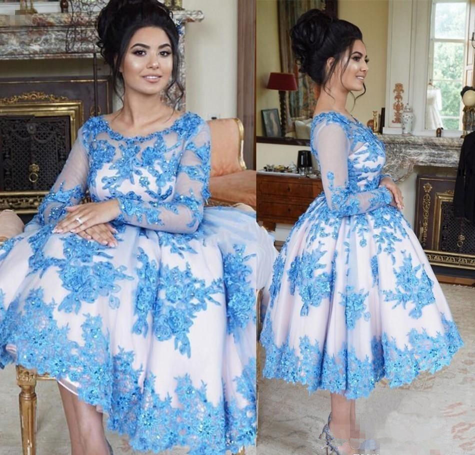 Light Blue   Cocktail     Dresses   2019 Lace Appliques Sheer Long Sleeve Party Homecoming   Dresses   Ankle Length Sexy vestidos de festa