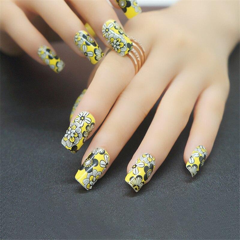 Nail Stickers 3d Flower Nail Art Designs Yellow Warps Nail Strips ...