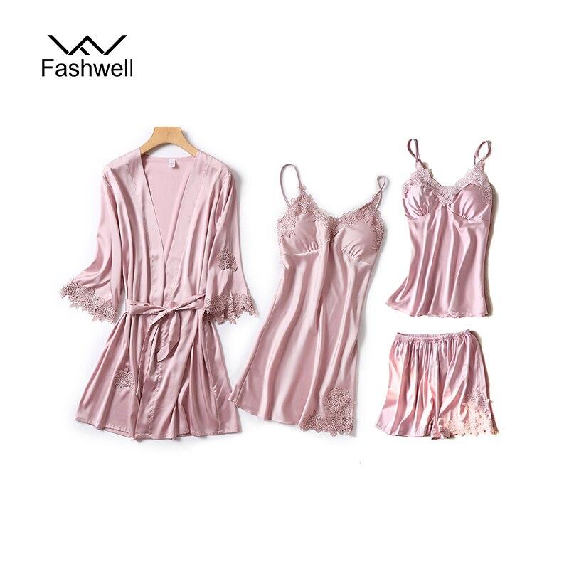 Fashwell Sexy Women Pajamas Lace Slik Sleep Lounge