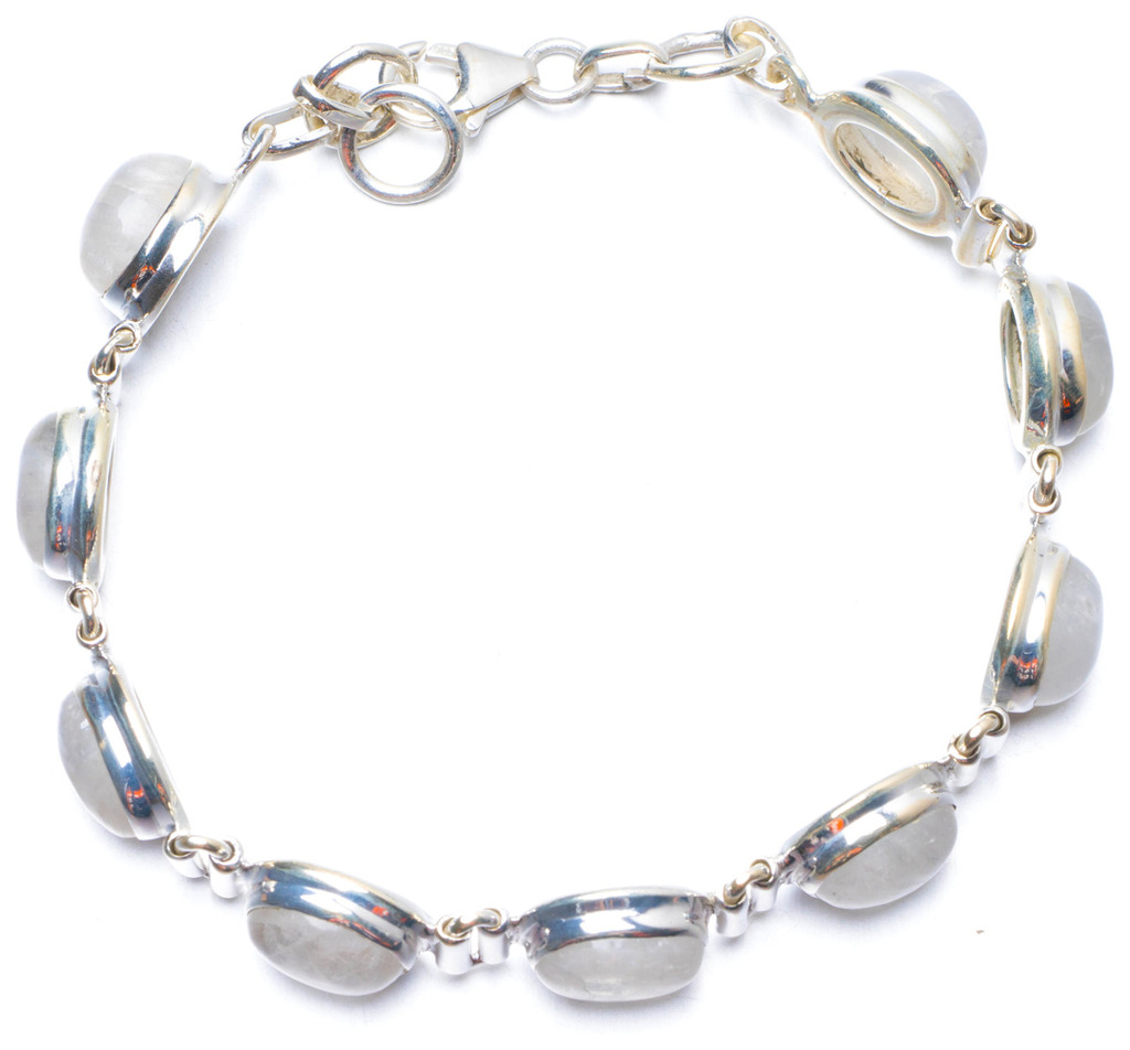 купить Natural Rainbow Moonstone Handmade Unique 925 Sterling Silver Bracelet 7 1/4-7 3/4 Y0802