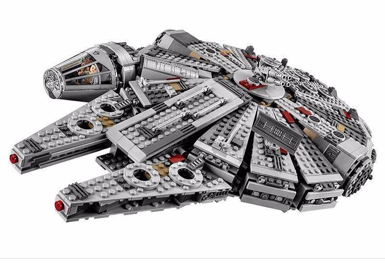 ФОТО 1381PCS Lepin Legod Star Wars EM Bloco Lepin Millennium Falcon 05007 Starwars  Building Block Set Christmas Gifts
