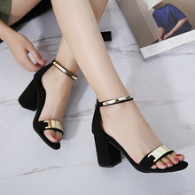 Fashion black Summer Sandals Open Toe Women Sandles Thick Heel Shoes