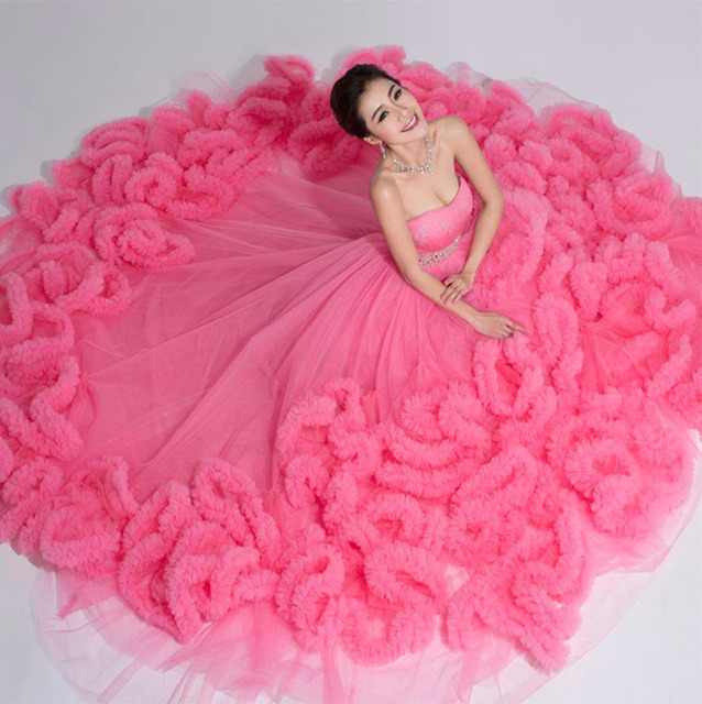 Awan Gaun Pengantin 2016 Pink Ball Gown Wedding Dress Sayang Lace Up