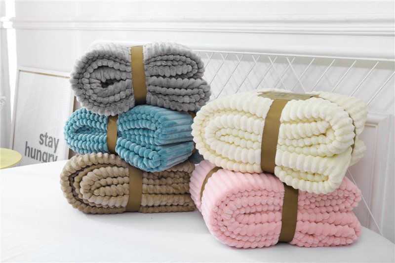 New Throw Coral Flannel Blanket Plaid Striped Bed Sheets sofa Magic Wool Drawstring Double Lambs Blanket Couch Bed Plane Travel