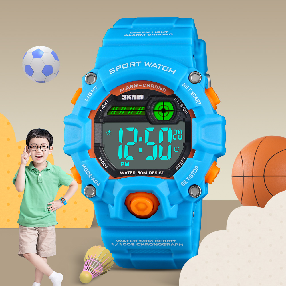 SKMEI Children Sports Watches Fashion LED Quartz Digital Watch For Kids Boys Girls 50M Waterproof Outdoor Sport Wristwatches