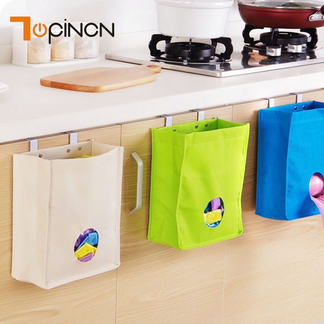 Hanging Garbage Bag Dispenser Kitchen Organizer Wall Mount Reusable Grocery Oxford Bags Holder Net Trash