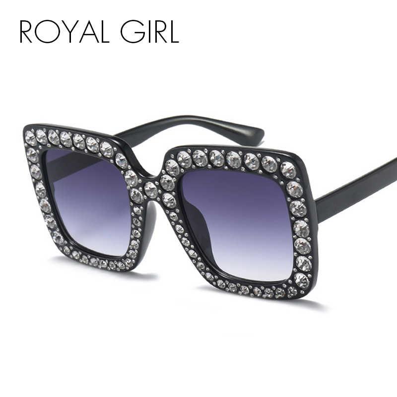 645991b07c ... Real chica cuadrado de diamantes de imitación gafas de sol mujer marca  diseñador de cristal gafas ...