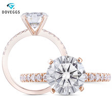 DovEggs 10K Rose Gold Center 2ct 8mm F Color Moissanite Diamond Engagement Rings For Women Wedding Ring with Accents