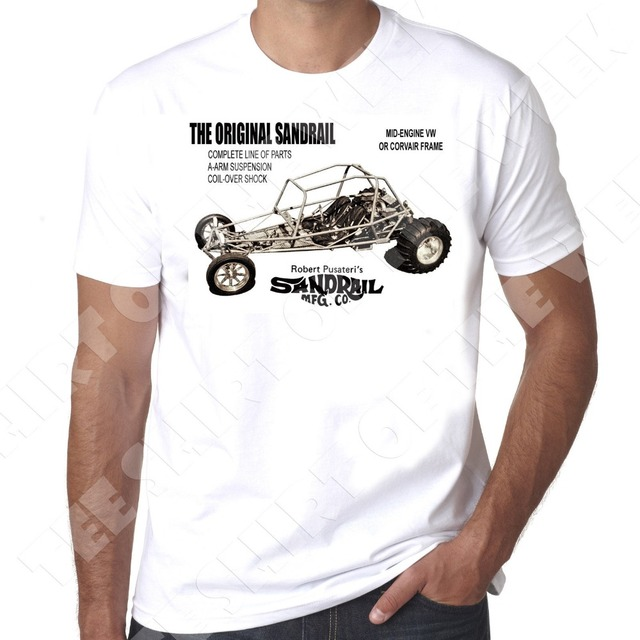New Brand Clothing T Shirts Sandrail Dune Buggy Vintage 70s Style Vw Beetle Engine 100 Cotton Mens Shirt