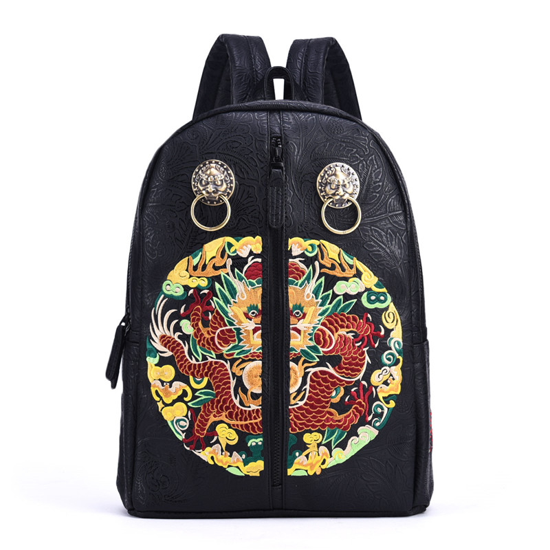 Chinese Style Trend Brand Men Backpack Vintage Lion Head Dragon Embroidery Printing Male Daily Laptop Bagpack