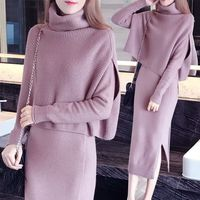 2019 Winter Two Pieces Women Sweater Elegant Turtleneck Cape Long Cloak Sleeve Cashmere Solid Split Bodycon Knitting Dress