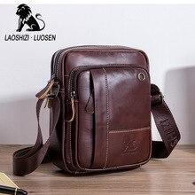 Man Shoulder Bags Genuine Leather Men's Messenger Bag Oil Wax Crossbody Pocket Male Fashion Handbag Flap Gift Business Travel