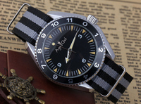 New Men's Luxury Brand Automatic Self Wind Mechanical Stainless Steel Fabric Canvas Strap James Bond 007 Spectre Watch 44mm