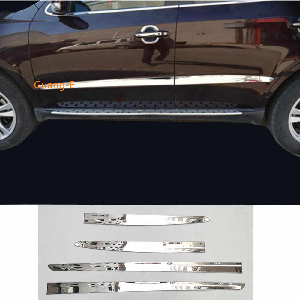 Car styling cover detector ABS chrome Side onderkant Deur trim frame sticker Strip voor Hyundai Santafe Santa Fe 2010 2011 2012