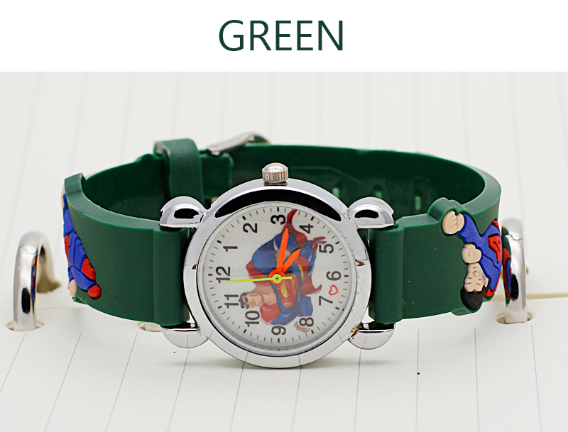Children's Watches 3D Superman Cartoon Watch Casual Boys Sports Quartz Watches Kids Wristwatch Clock relogio montre enfant saat