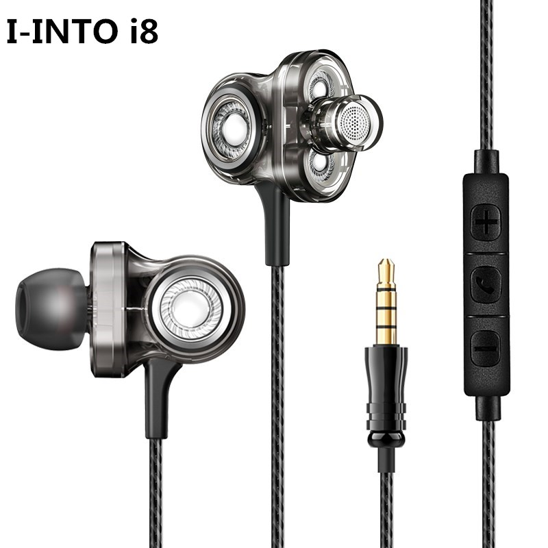 I-INTO i8 Earphone 3 Dynamic Drive HI FI Earphones Ear Bud In Ear Stereo Rock DJ Bass Headset Mic for Xiaomi/Samsung/iPhone
