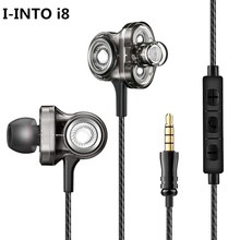 I-INTO i8 HIFI наушники 3 динамические бас-вкладыши в ухо стерео наушники Рок DJ гарнитура с микрофоном для телефона Xiaomi/iPhone