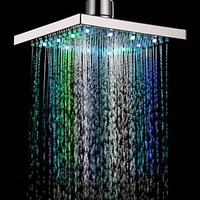 LED Shower Head Changing Shower Head with Temperature Controlled Rainfall Bathroom Showerhead 8 Inch Square Colorful Top