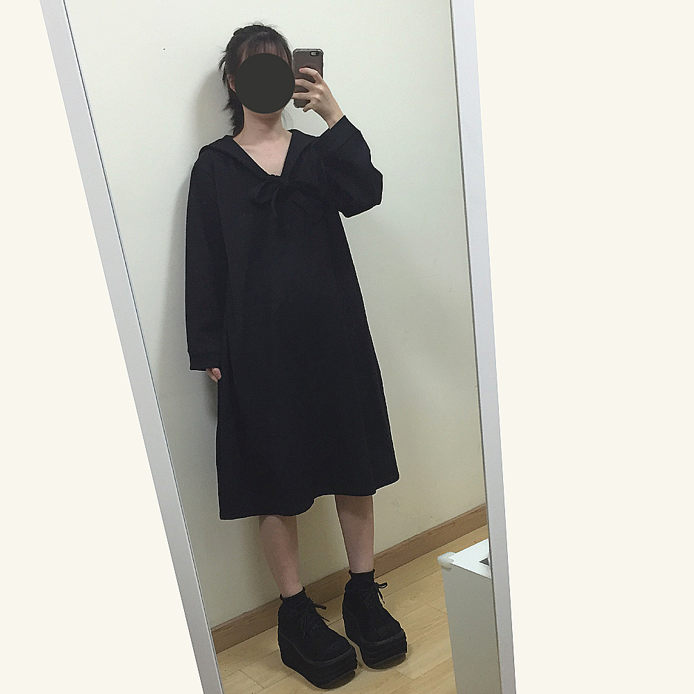 2016 autumn winter woman Japanese student sailor uniforms long dress with tie academic school uniforms pleated black loose dress