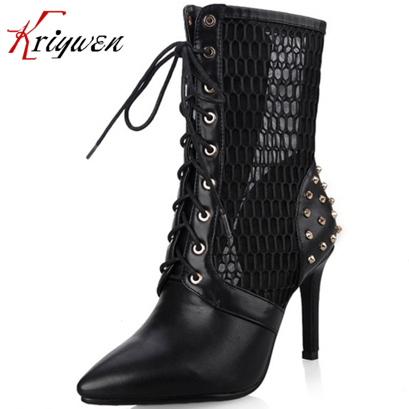 ФОТО Three colors 2015 spring high heels PU soft leather pumps cut outs sexy club dance shoes woman pointed toe rivets ankle boots
