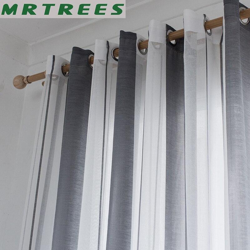Leinen Fenster Sheer Vorhänge für die Küche wohnzimmer Vorhänge Schlafzimmer Moderne Gestreiften Tüll Voile Vorhänge für Fenster Vorhänge
